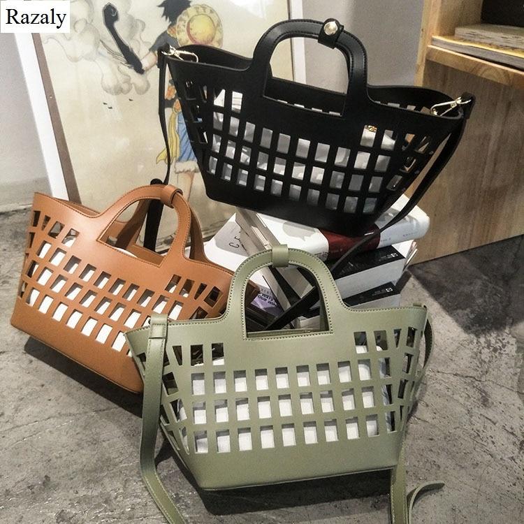 Razaly brand designer high quality large capacity tote hollow out woman handbags big basket bucket bags