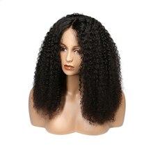 KL ipek taban üst tam sırma insan saçı peruk bebek saç ile doğal siyah brezilyalı Remy saç kıvırcık peruk kadınlar için ön koparıp