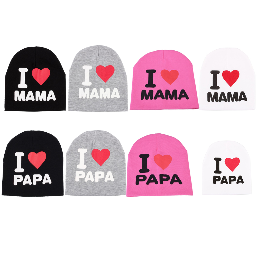 1PC Baby Infant Cotton Beanie Hat I LOVE PAPA / MAMA Cap 2018 New Fashion 3 Colors Cute Letter Print Warm Hat For Newborn Kids