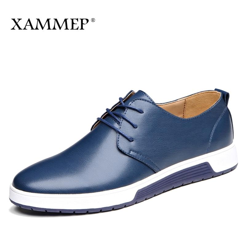 купить Men Casual Shoes Brand Men leather Shoes Men Sneakers Spring Autumn Plus Big Size Genuine Split Leather Men Flats Slip On Xammep по цене 2566.75 рублей