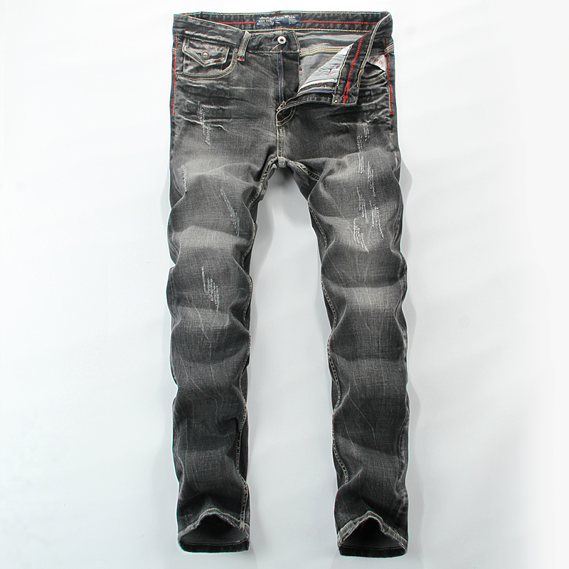 Streetwear Mid Stripe Men`s Grey Jeans Ripped Slim Fit Denim Pants Quality Vintage Brand Clothing Moto Biker Jeans Men RL622 classic mid stripe men s buttons jeans ripped slim fit denim pants male high quality vintage brand clothing moto jeans men rl617