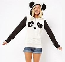 New European Hippie Lovely Cute Panda Printing Catch Down Black White Hit Color Maam garment unlined upper dress