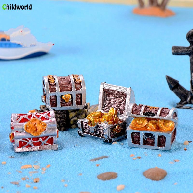 Pirate Gold Adventure Coin Box Gift Toy Aquarium Mini Cartoon Mediterranean Ocean Pendant Garden Decoration