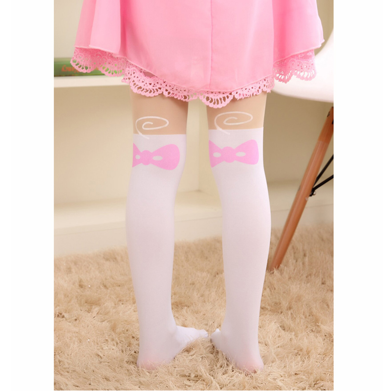 Summer-Childrens-Baby-Kids-Girls-Thin-Tights-Pantyhose-Knee-Fake-Tattoo-Velvet-Stocking-white-Cartoon-Kitty-Cat-3-8Y-new-2016-1