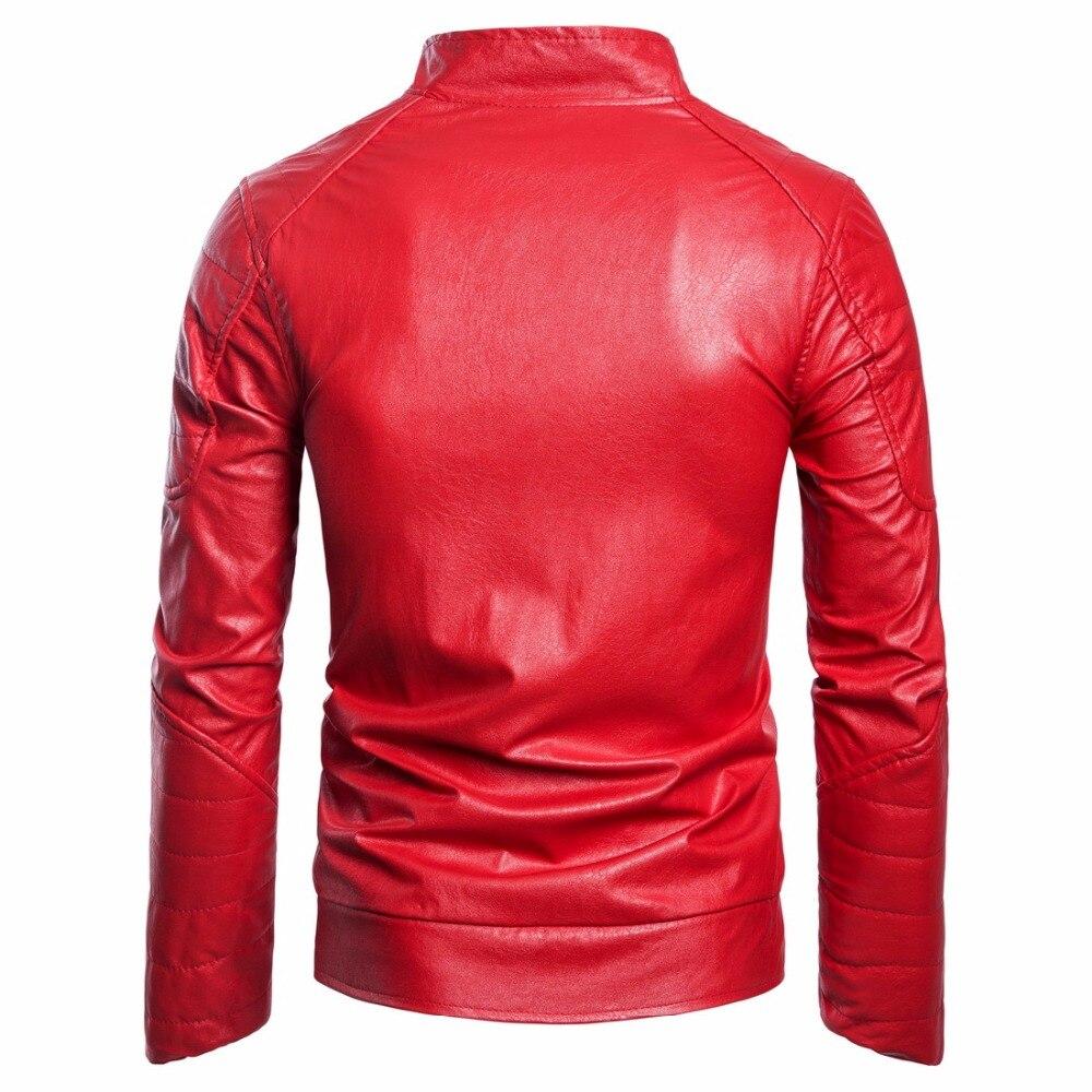 Fit Black Cuir Automne Hommes Pu Marque Hiver Veste Gustomerd En Vestes Casual Losange Manteaux Slim red Zipper Et 8F7nxwf