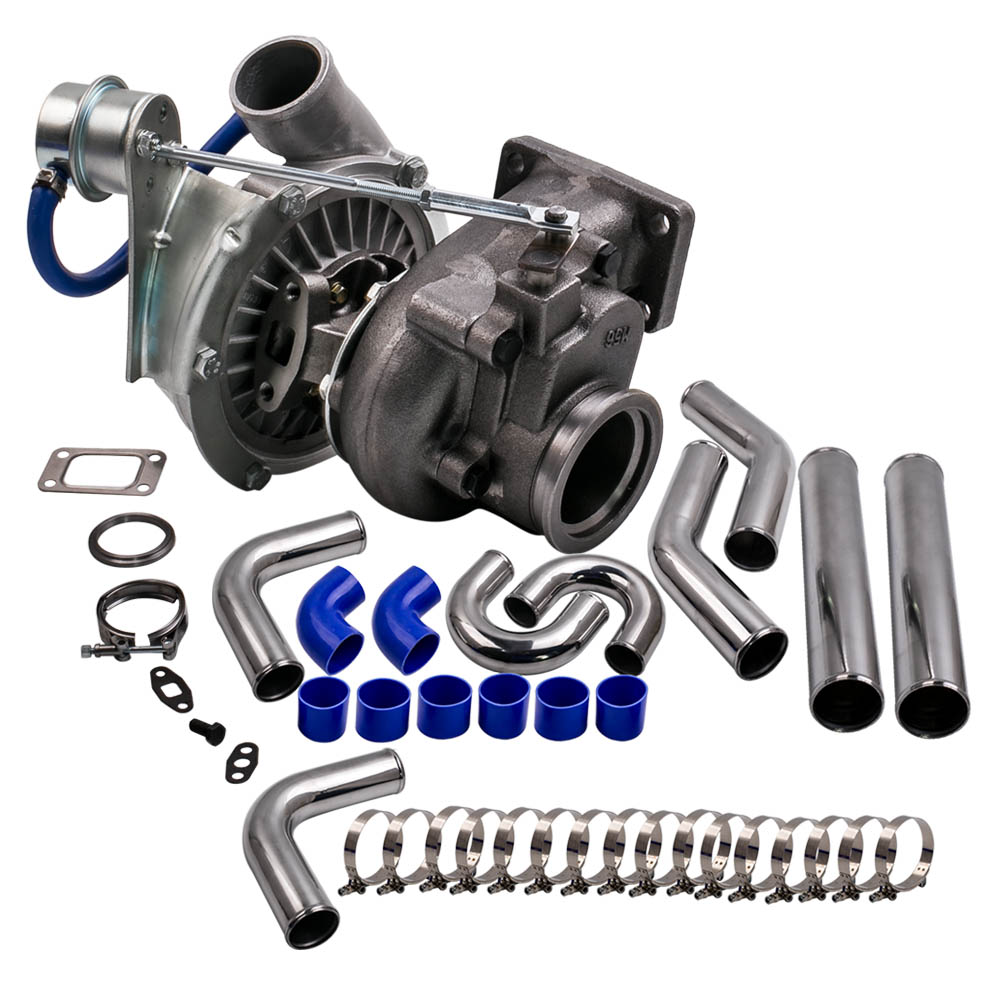 Universal Turbo Kit 4 Cylinder: For Hybrid T3 T4 A/R .63 A/R .50 V Band Turbo Turbocharger