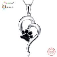 StrollGirl 925 Sterling Silber Katze Hund Pfote Anhänger & Halsketten Für Frauen Silber Kette Liebe Herz Halskette Modeschmuck Geschenke