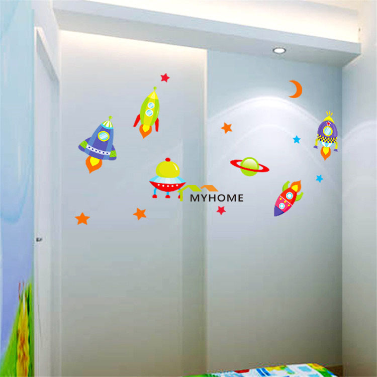 Aliexpress.com : Buy Explore The Universe UFO The Moon Star In Space  Removable Wall Stickers Vinyl Decals Or Kids Children Rooms Decoration From  Reliable ... Part 81