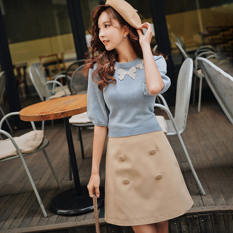Dabuwawa Spring High Waist Double Breasted Skirts For Girls Women Office Lady 2019 New Elegant A-Line Solid Skirt DN1ASK005