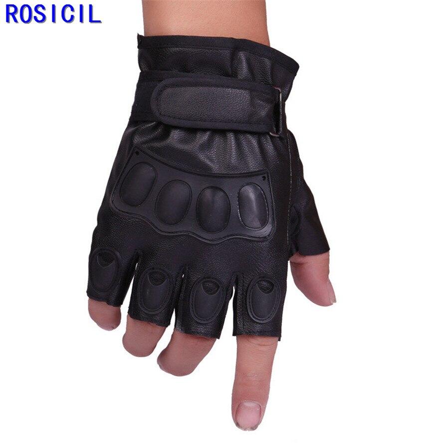 Black leather gloves with coloured fingers - Rosicil Tactical Gloves 2017 Arrival Half Finger Leather Gloves Fashion Genuine Leather Gloves Size Adjustable Black