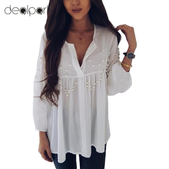 3b321bff357 Elegant Ladies Office Work Wear Shirts Women Pearls Beading Chiffon Blouse  Long Sleeve V Neck Casual Tunics female Tops White