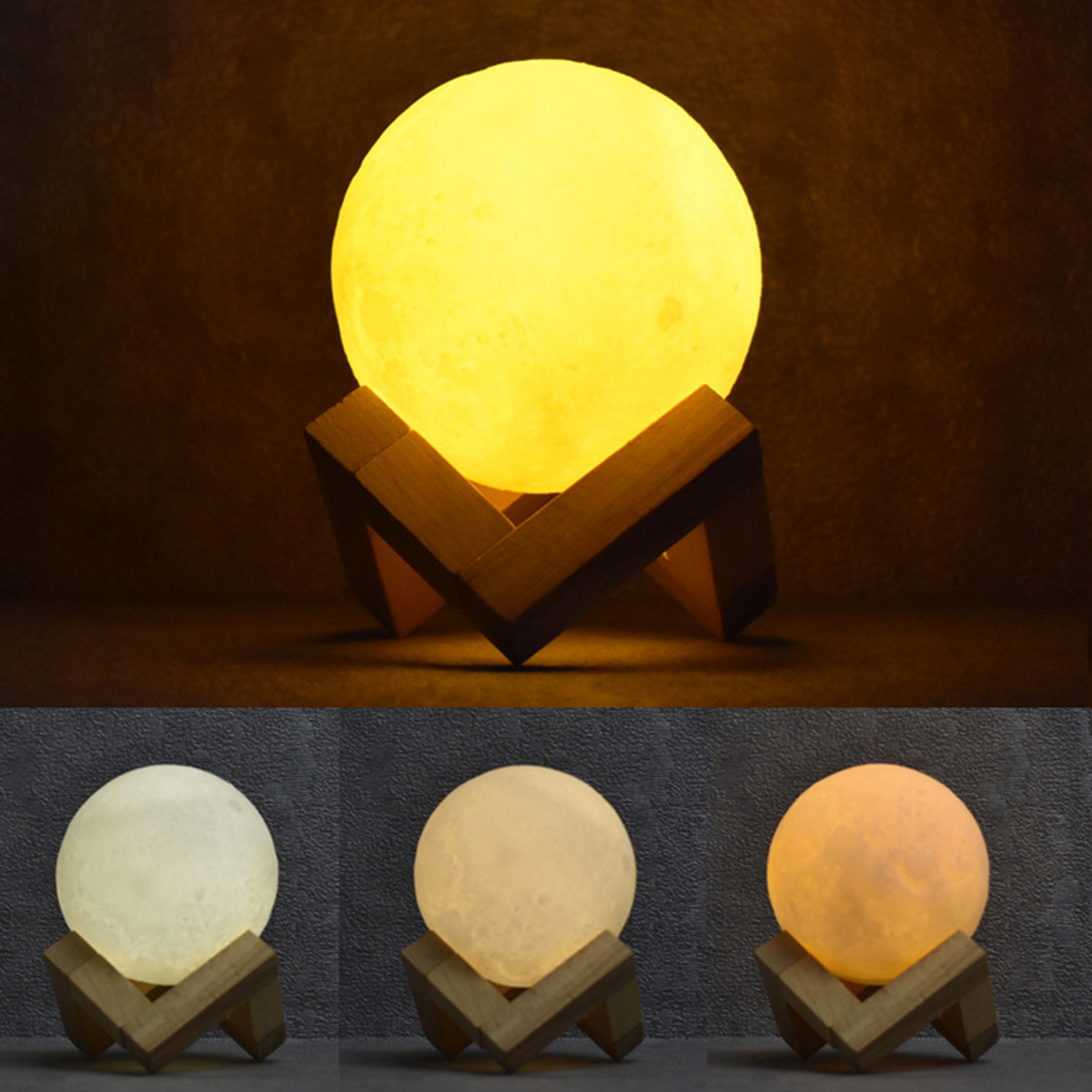 3D Artificial Moon Night Light Bedside Lamp Touching Switch Colorful Light Figurines Miniatures Home Decor Creative Gift F