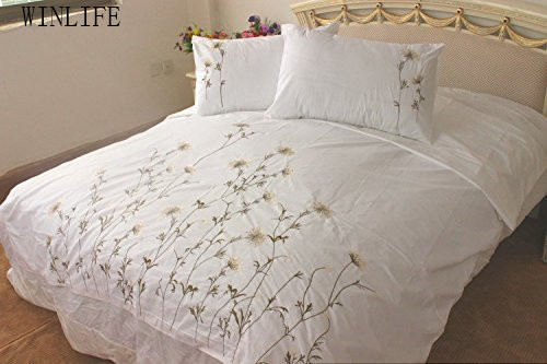 Winlife 100 Handmade Embroidery Duvet Cover Set Rustic Dandelion Embroidered Bed Cotton Bedding
