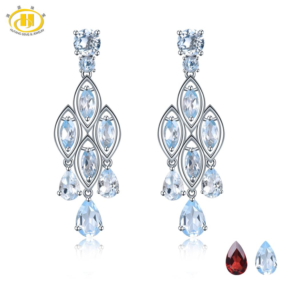 Hutang 7 30ct Sky Blue Topaz Stud Earrings Natural Gemstone 925 Sterling Silver Fine Elegant Classic