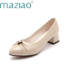 1001e3ec1d2 MAZIAO Office Career Women Fashion Med Heel Round Toe Women Pumps Shallow  Crystal Shoes Ladies Shoes