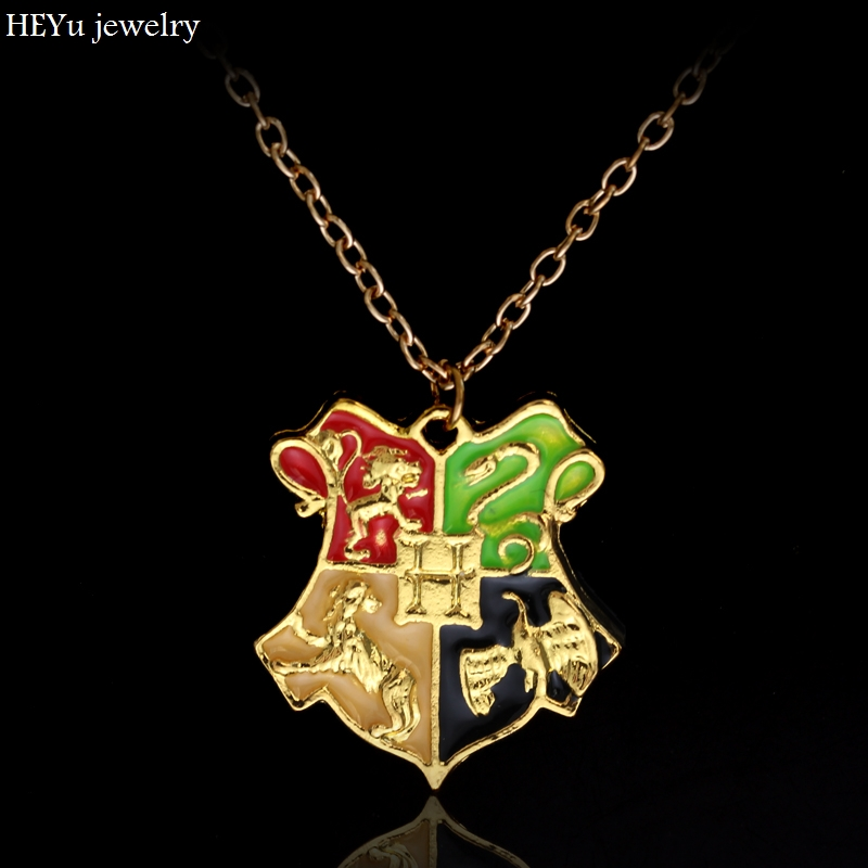Free Shipping High Quality H P Hogwarts Pendant Necklaces MAXI European  STYLE Gold H Logo Badge Pin