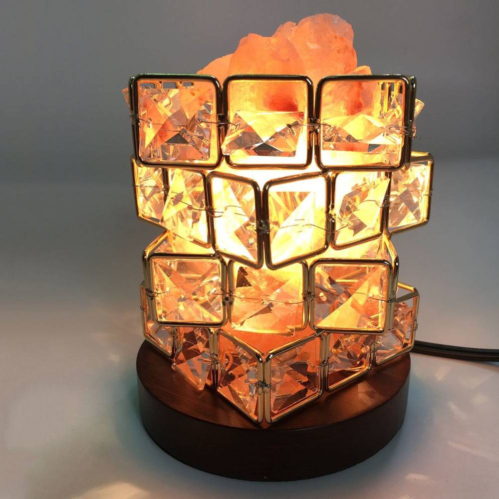 Special Magic Cube Shape Healthy Life Himalayan Natural Crystal Salt Light Air Purifying Himalayan Salt Lamp for Bedroom
