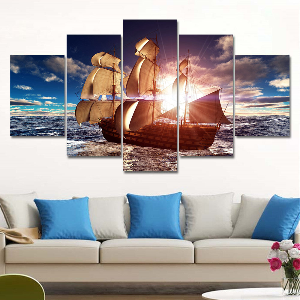 5 panel modern canvas prints sea boat sunset painting for Decoracion de cuadros