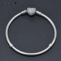 Real 100 925 Sterling Silver Solid Snake Chain Plain Heart Clip European Bracelet For Charm Beads