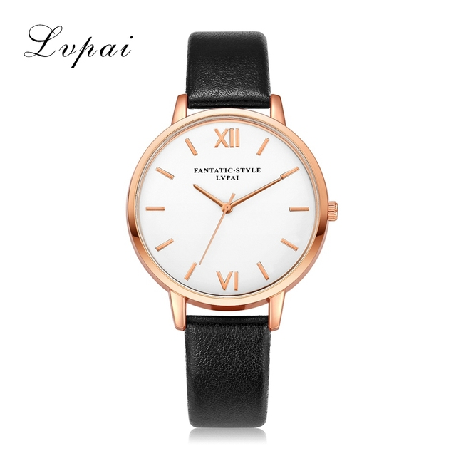 Lvpai Brand Rose Gold Luxury High Quality Casual Geneva Leather Strap Women Watc