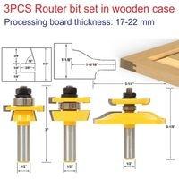 3pcs 1 2 Shank Router Bit Set In Wooden Case Woodworking Drill Tool Door Plank Router