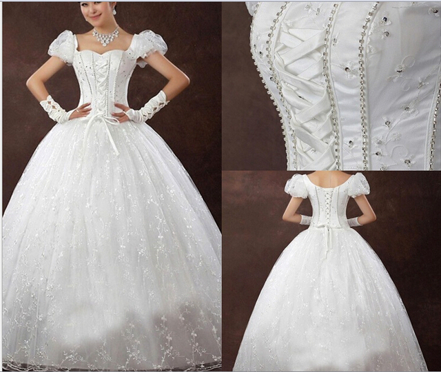 Systemic Lace Wedding Dress Custom Princess Puff Shoulders Straps Upscale