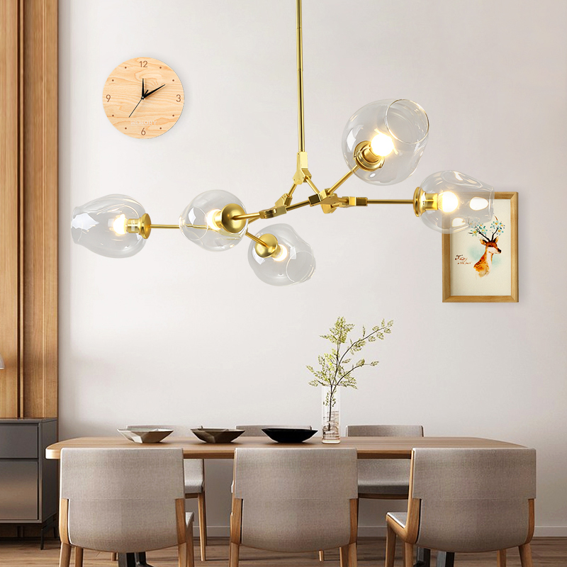 Post modern Fashional Gold Black Pendant Lamps With Clear Glass Shade E27 Indoor Hanging LED Lights