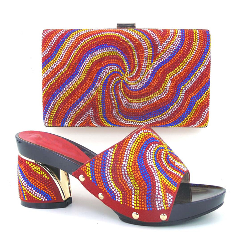 ФОТО Shoes and Bag For African Women Shoe and Bag To Match for Parties African Shoe and Bag Set TH16-62 Red In Women Shoe and Bag Set