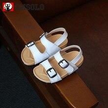 CMSOLO Summer Kids Sandals Hollow Toddler Shoes Boys Genuine Leather Children Fashion Flat Baby Brand White Kid Beach Black Shoe