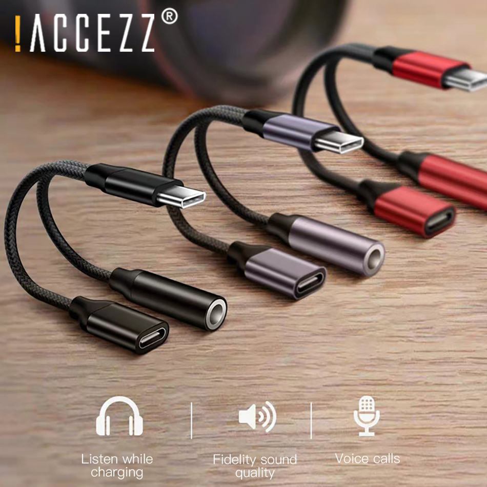 !ACCEZZ USB Type C Charging Headphone Adapter For Huawei Mate RS Xiaomi 6 8 Mix2S 3.5mm Jack Earphone Aux Listen Charge Adapter