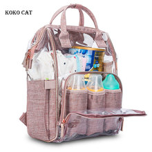 цена на Fashion Mummy Bag Transparent Diaper Backpack Maternal Bags Waterproof PVC Large Capacity Multi-functional Nursing Daypack