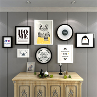 Wooden Photo Frames Set Office Living Room Wedding Picture Frame Wall Black White Rectangle Round Picture Frames Cadre Photo