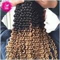 9А Перуанский Девы Волос 100% человеческих волос 1 Bundle Перуанский глубокая Скручиваемость Ломбер Переплетения 1B/27 Ombre Наращивание Волос Спираль Curl переплетения
