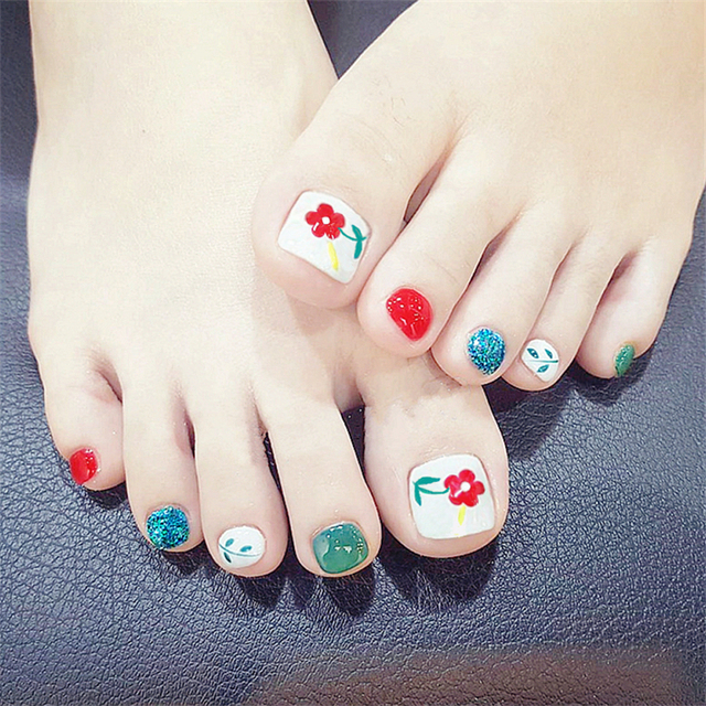 New Fashion Red Flower Toe Nail Sticker Decal Water Transfer Sticker