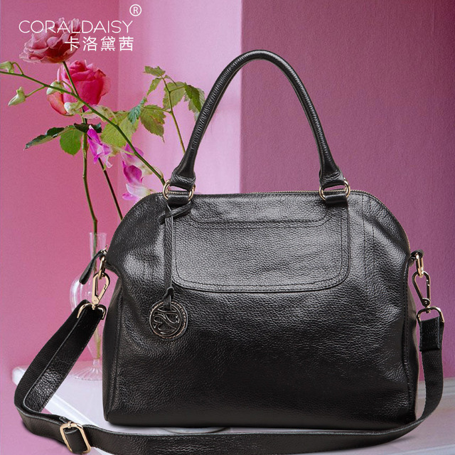 New  2013  Coraldaisy  European&American Style Litchi Stria Handbags Genuine Leather Bags Women Leather Handbags