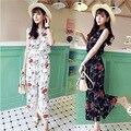 Beach Wear Causal 2015 Fashion Summer Style 2 Piece Set  Shirt Blouse Print   women Chiffon clothing set