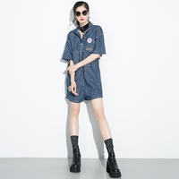 Denim Loose Women Chic Playsuits 2018 Summer Chic Print Patter Pocket Ladies Jumpsuits Rompers High Waist