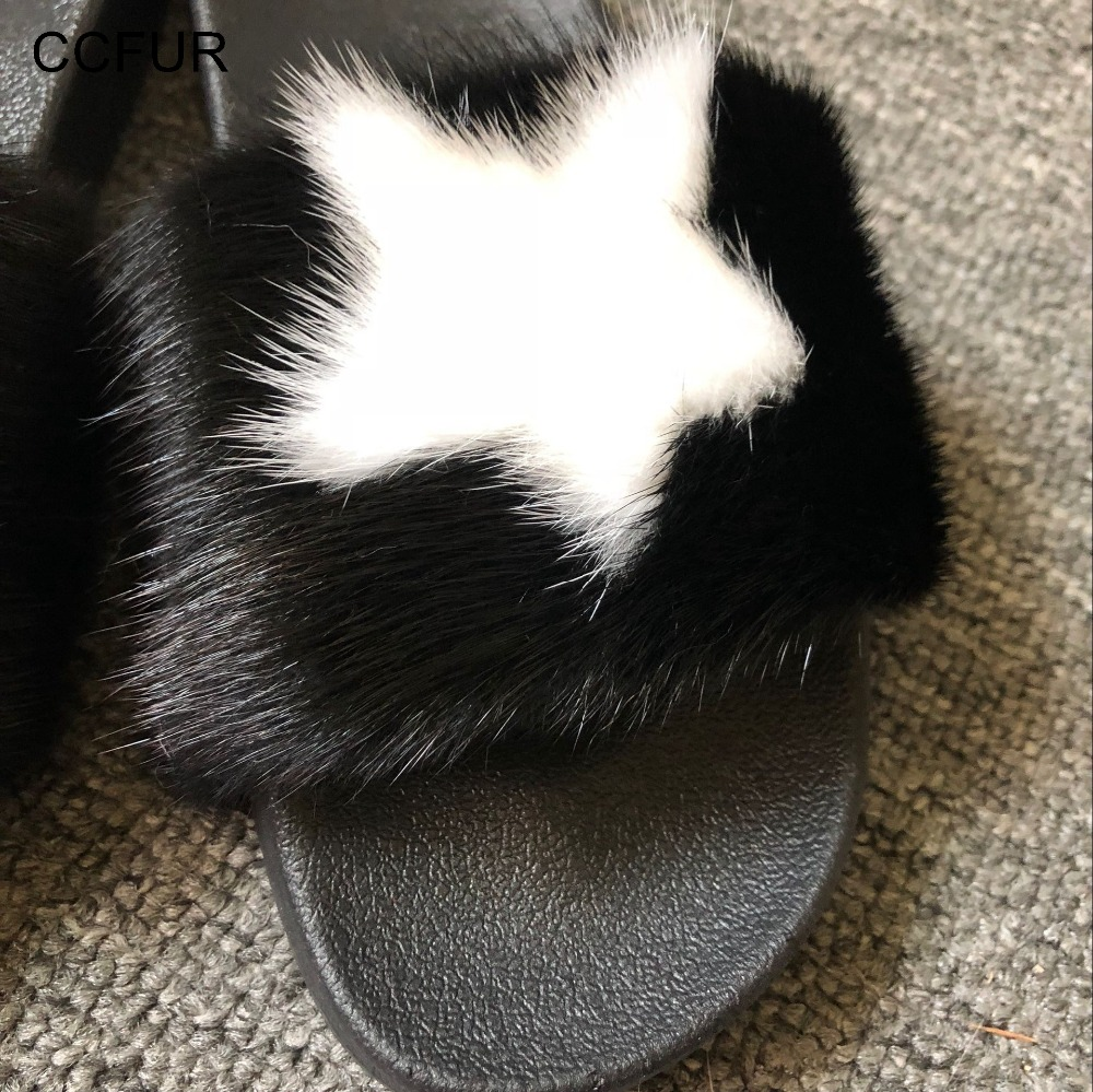 a63acfc9d6f Aliexpress.com   Buy Real Mink Fur Slipper Fashion Star Style Women Slides  Sliders Top Quality Soft Fluffy Wholesale   Retail S6027B from Reliable  Slippers ...
