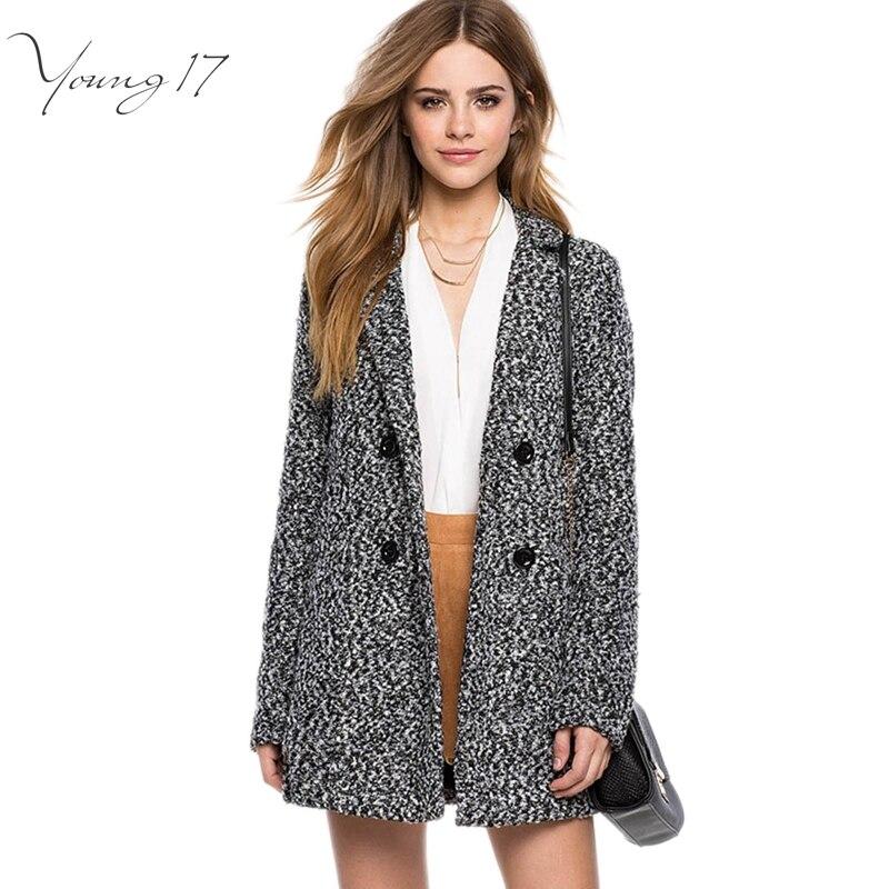 Young17 2016 Elegant Women Winter Wool Coats Plus Size Grey Turn ...