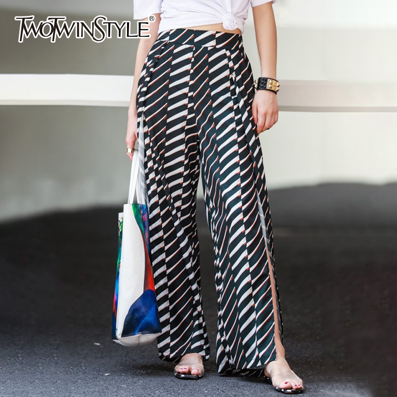 TWOTWINSTYLE Striped   Wide     Leg     Pants   Female High Waist Split chiffon Trousers For Women Loose Korean Casual 2018 Summer Fashion