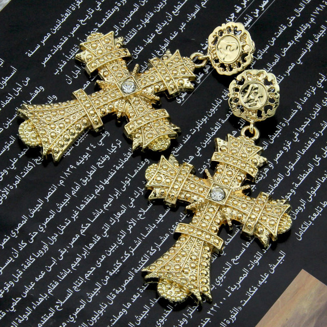 Boho Christian Style Golden Cross Drop Earrings