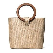 26×22 CM 2017 Neue Trend Stroh Tasche Paket Frauen Strand Urlaub Handtasche Bag Runde holzgriff A2974