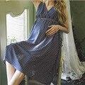 Vestidos de verão de Algodão Vestido Listrado Maternidade gravida Roupas De Mama Para As Mulheres Grávidas Maternidade Gravidez