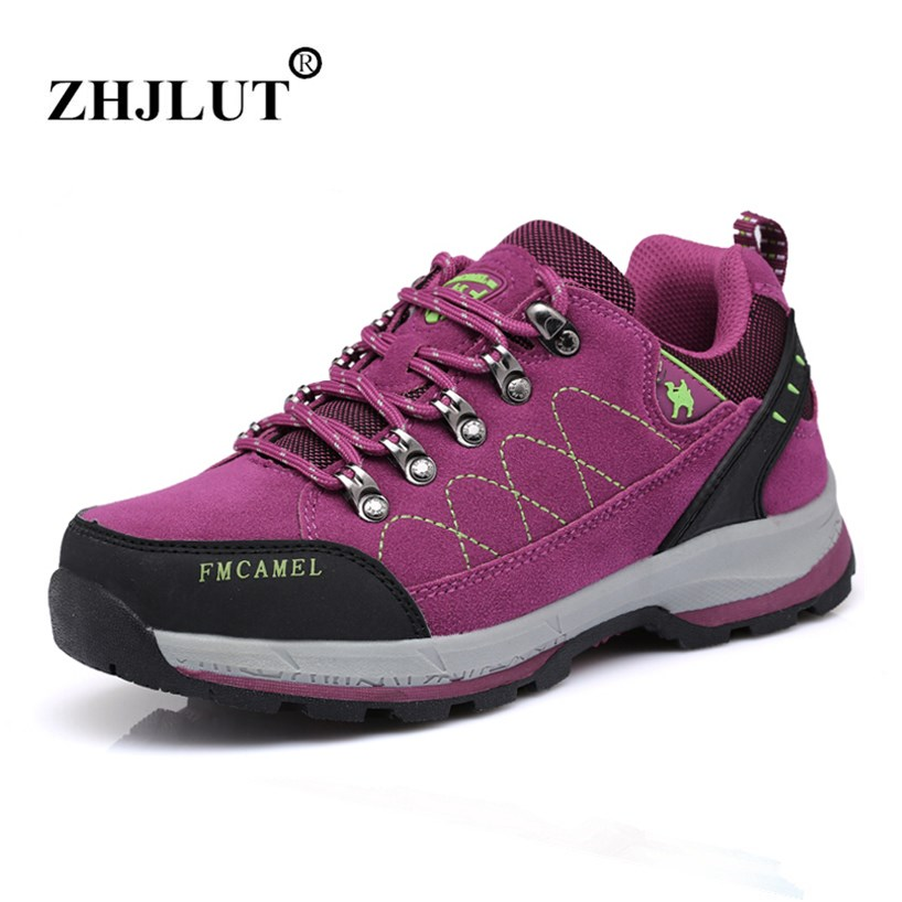 Women Sneakers Outdoor Waterproof Breathable Hiking Shoes Women Genuine Leather Walking Sport Shoes Woman Climbing Trekking Shoe peak sport men outdoor bas basketball shoes medium cut breathable comfortable revolve tech sneakers athletic training boots