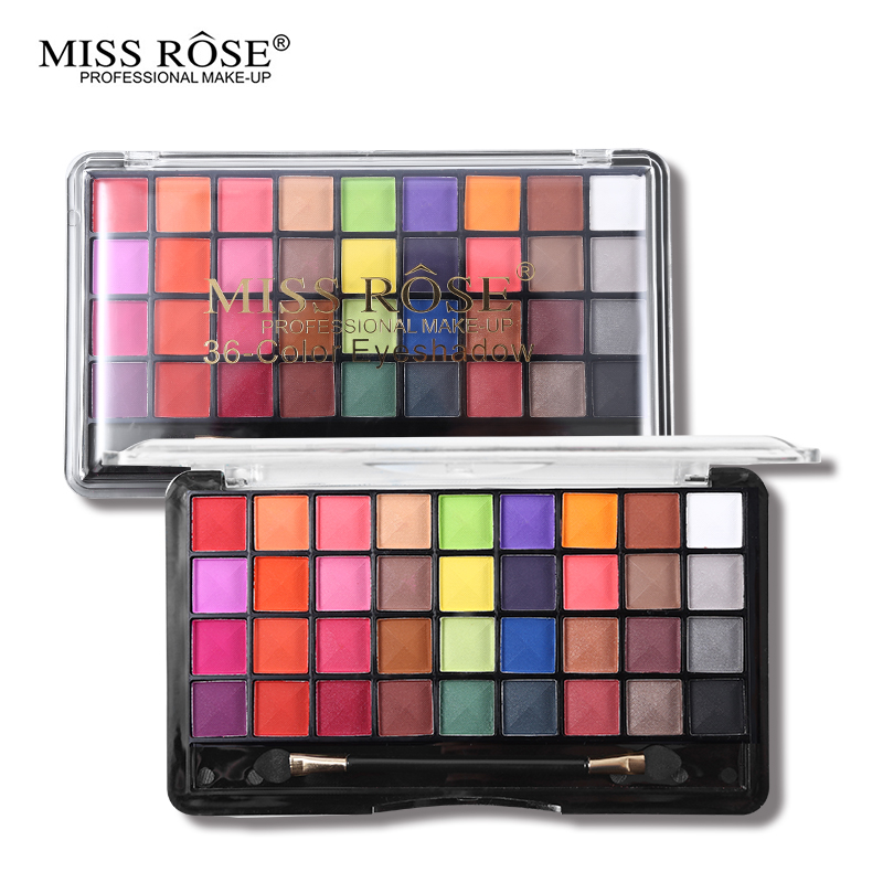Miss Rose Pro Makeup Palette 36 Color Matte Eyeshadow Palette Bright Shimmer Eye Shadow Metallic Pigment Nude Smoky Cosmetic Kit
