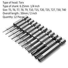12pcs 1/4 Inch 50mm S2 alloy steel Magnetic Torx Screwdriver Bits Set T5-T40