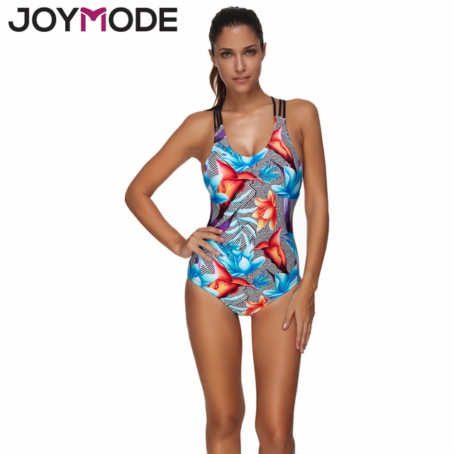 ea37ef2fd0b JOYMODE One Piece Swimsuit Women Backless Cross Striped Swimwear Printed  Black Beachwear Large Size Vintage Retro