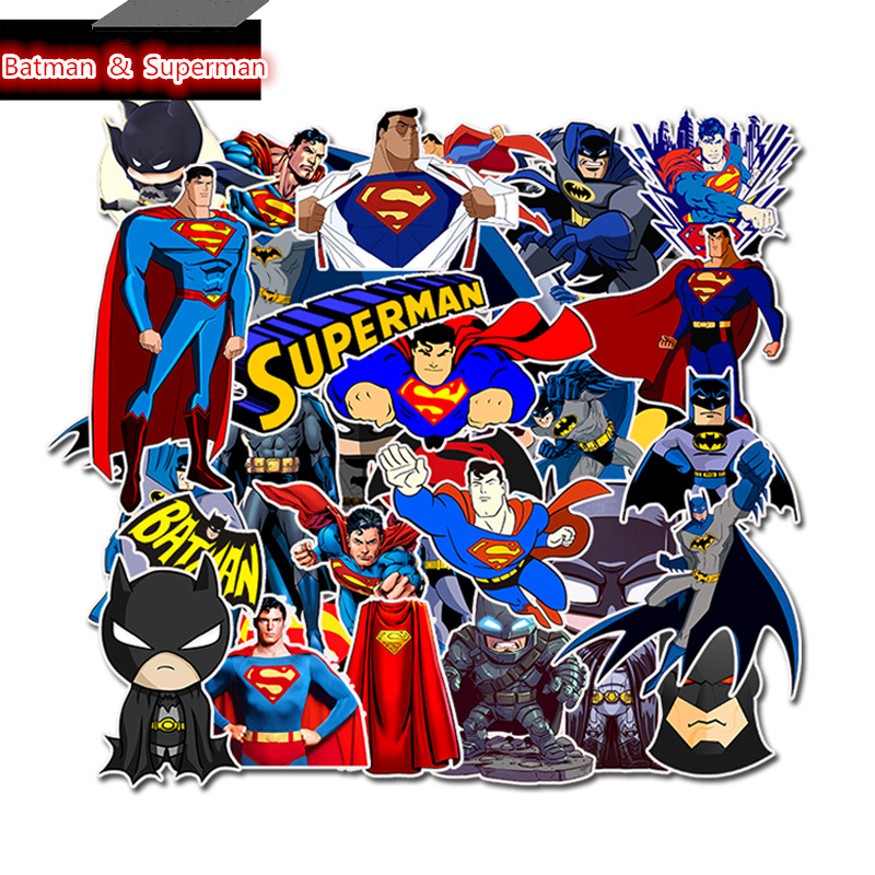 Batman Catching a Ride on Superman Luggage Sticker Skateboard Guitar Laptop Car