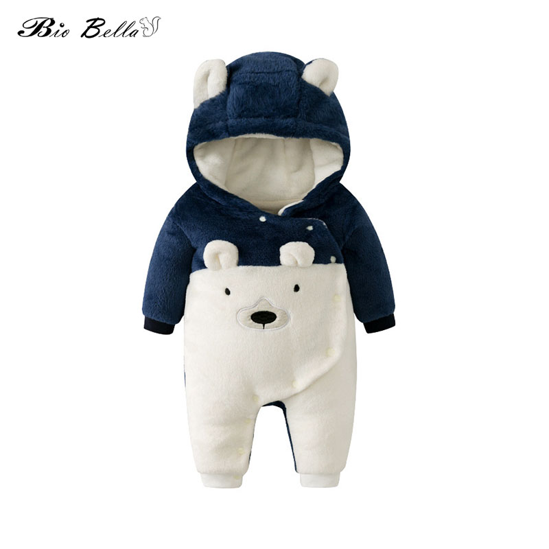 Winter New Cute <font><b>Baby</b></font> Clothes Thicken Fleece Long Sleeve Rompers Jumpsuit Bebes Infantil Animal Clothing <font><b>Baby</b></font> <font><b>Body</b></font> Meninos image