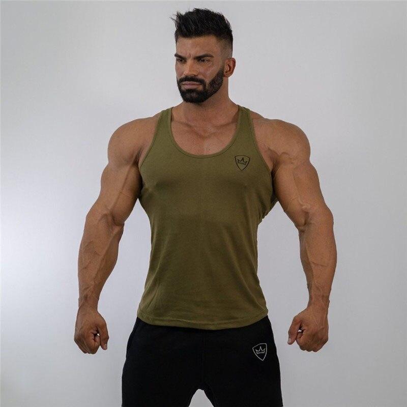 2019 Männer Armee Grüne Weste Jogger Fitness Bodybuilding Männer Weste Mode Baumwolle Fitness Weste Casual Männer Kleidung